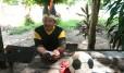 o cacique Ciocy, do Bar� F.C., time que cruza o rio Negro de barco para chegar aos jogos em Manaus