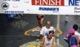na linha de chegada da maratona de Nova York, em 1994