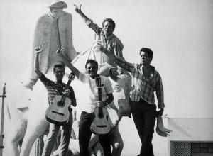 Théo de Barros, Heraldo do Monte, Airto Moreira e, no alto, Vandré, em 1966