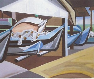 Canoas caiçaras, Ubatuba, guache de Jean Aubert