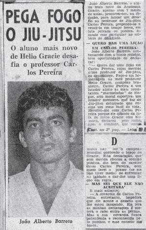 Artigo de jornal sobre João Alberto Barreto e a Academia Gracie