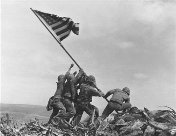 U.S. Marines raising the flag on Iwo Jima [1945]