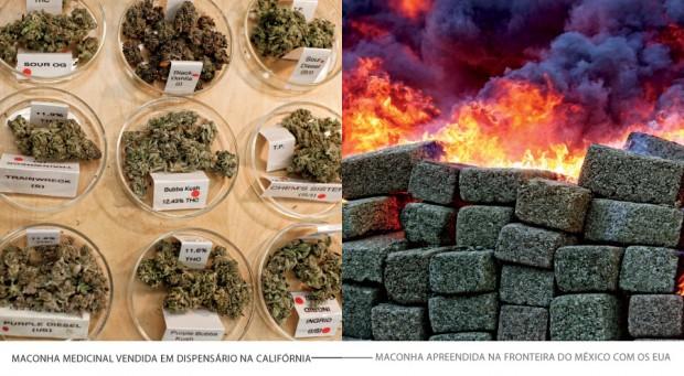 À esquerda: Maconha medicinal vendida em dispensário na Califórnia l Maconha apreendida na fronteira do México com os EUA