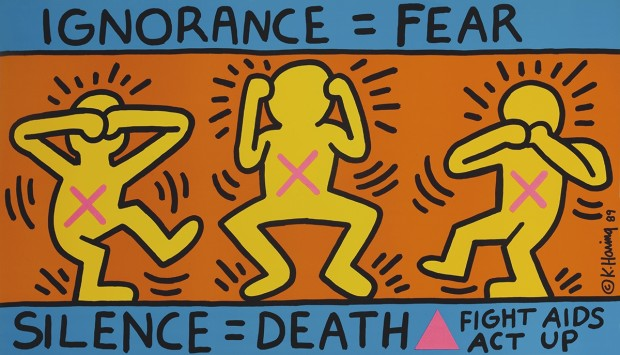 Keith Haring (1958-90) dá o recado em Ignorance = fear, silence = death, obra de 1989
