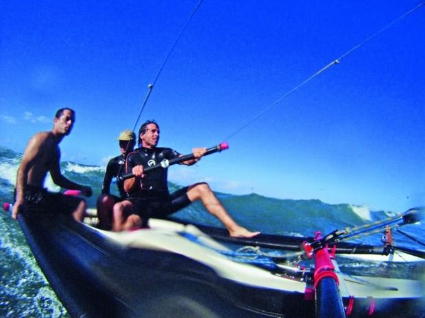 Testando o kite boat