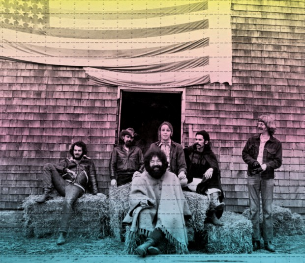 A fase de ouro do Grateful Dead, em 1970: Bill Keutzmann, Pigpen, Bob Weir, Mickey Hart, Phil Lesh e, na frente, Jerry Garcia