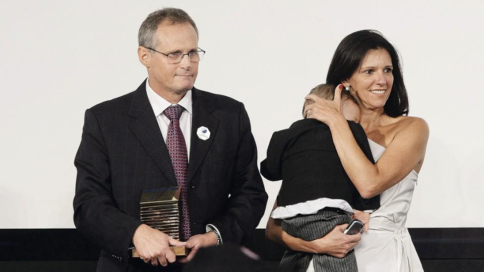 Beltrame com a esposa, Rita, e o filho do casal, Francisco
