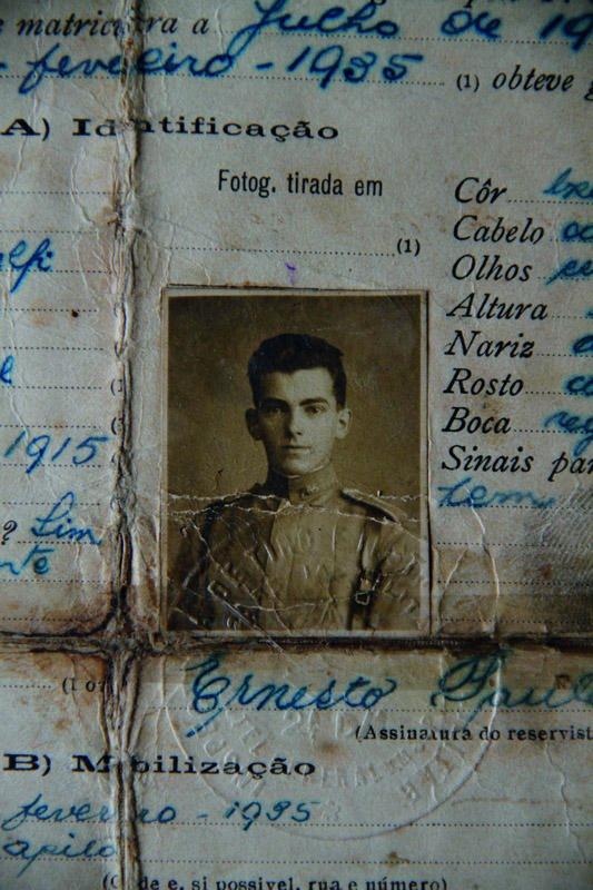 Certificado de reservista de Paulleli em 1935