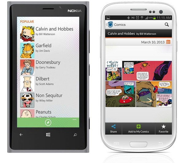 O aplicativo da GoComics para Windows Phone e Android
