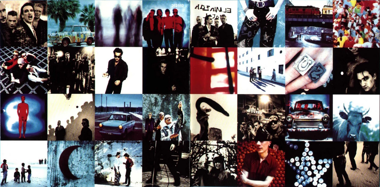 U2 - Achtung Baby: Lançado em 91, o sétimo disco da banda irlandesa trazia em seu encarte um enorme painel de fotos da banda. Uma delas traz o baixista Adam Clayton em nu frontal. Você consegue encontrá-la na imagem acima?