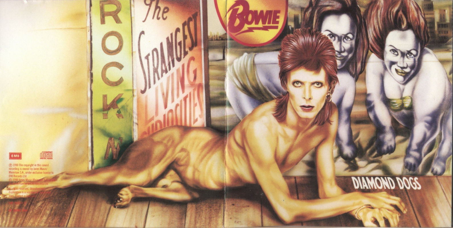David Bowie - Diamond Dog: a mistura de pênis humano e canino na figura antropomórfica que representa o camaleão na capa de seu disco de 1974, obviamente, causou problemas. A pintura foi criada pelo belga Guy Peellaert, que teve seu trabalho modificado no relançamento do disco em CD já nos anos 90