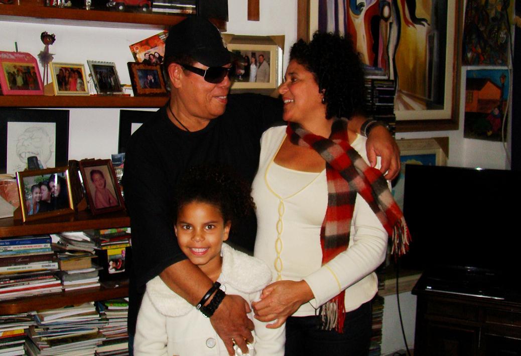 Com Jô, sua esposa, e a filha Gabi