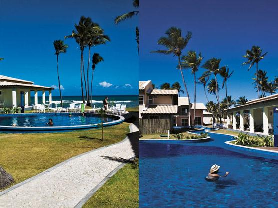 A área comum do condomínio, com ofurô e espaço gourmet ao redor da piscina