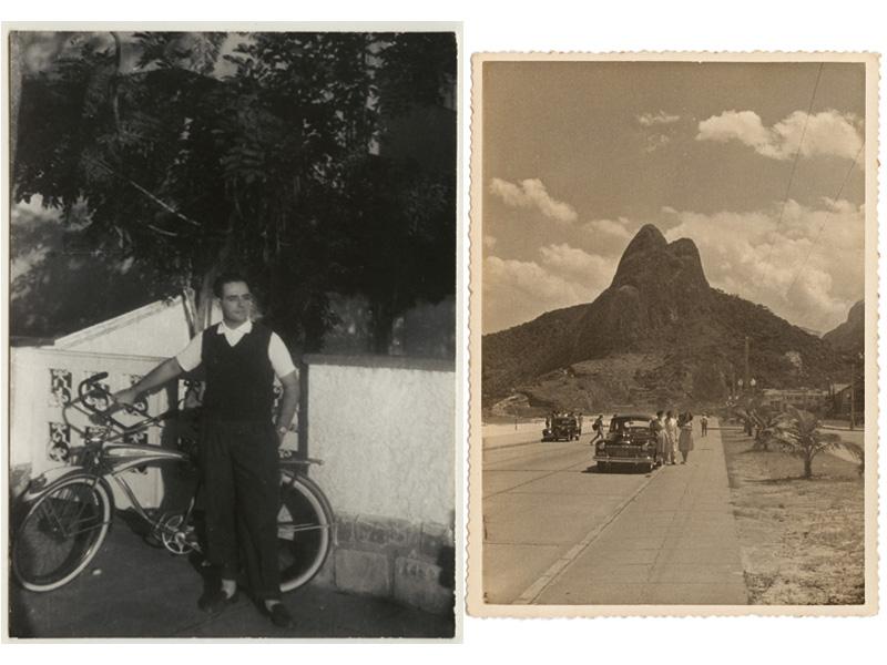 Seu Alberto na Ipanema dos anos 40; ao lado, os avós e a mãe (com o vestido ao vento) de Ana Maria Bahiana posam na av. Delfim Moreira, Leblon, em 194