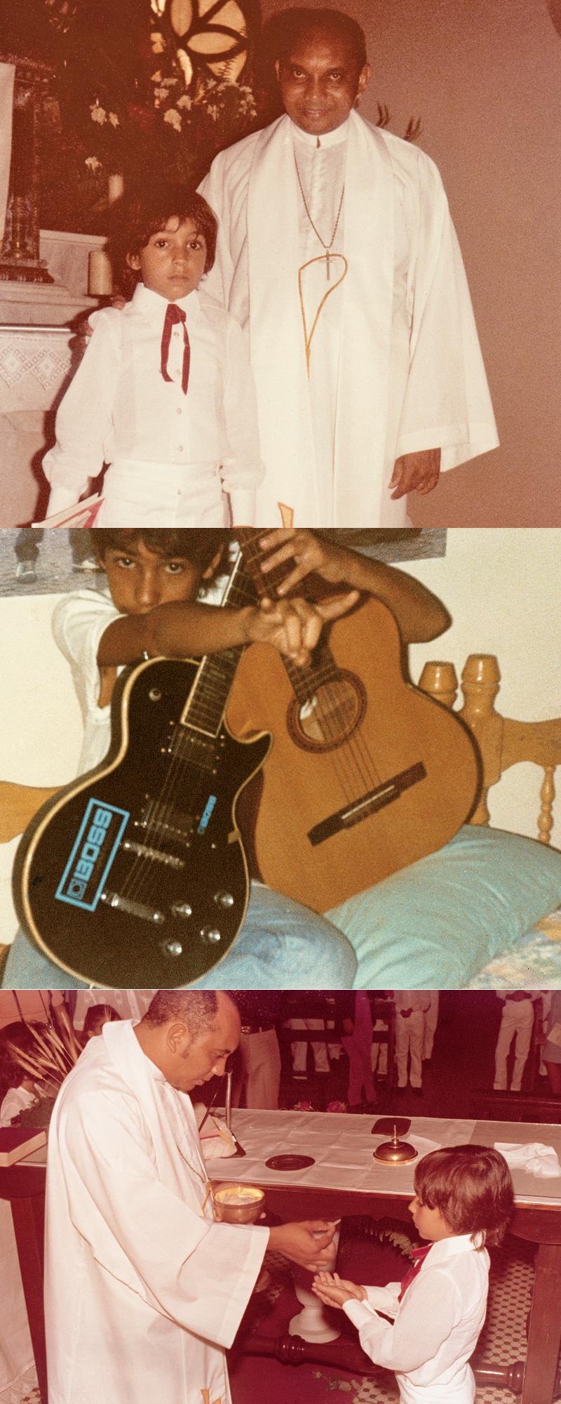 Fernando Catatau em seus tempos de menino católico e, aos 15, com o primeiro violão e a primeira guitarra