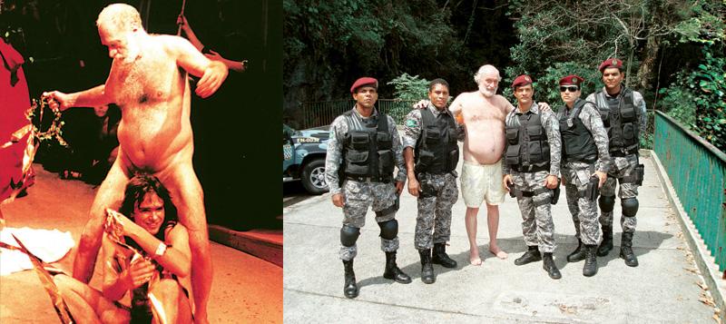 Pereio com Marcelo Drummond na peça As bacantes e com um batalhão de PMs tietes no Rio: liberdade é ficar pelado em peça do Zé Celso ou passar a mão n
