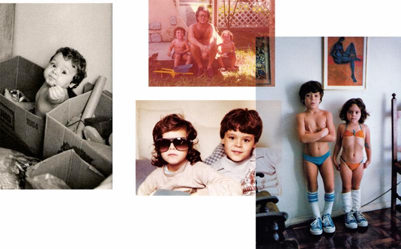 Em momento encaixotando Amarante; ao lado, com o pai, Jayro, e a irmã Marcela, que aparece também nas outras duas fotos