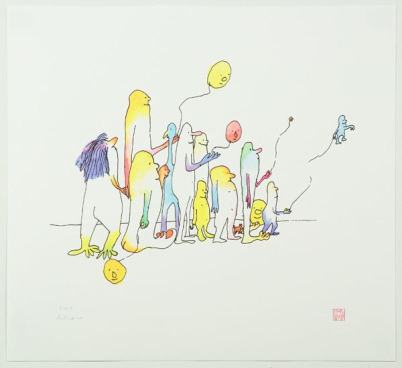 John Lennon - O eterno Beatle já teve exposições individuais nos quatro cantos do planeta e começou a pintar efetivamente por influência da esposa e musa Yoko Ono. Na imagem acima você vê uma de suas telas mais famosas, Come Together