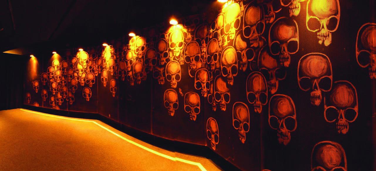 O projeto Ossário, um sítio  arqueológico do futuro. 300 metros de crânios  estampando um túnel em São Paulo.