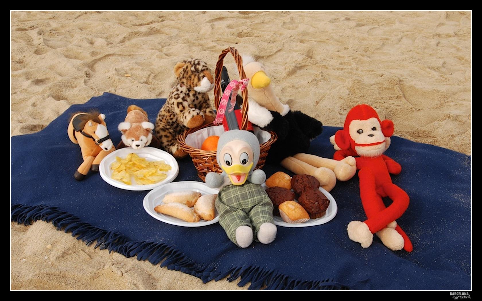 Piquenique na praia com vários viajantes reunidos
