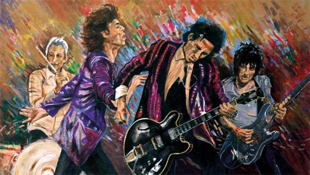 Ron Wood - Pintor de mão cheia, o tema favorito do guitarrista dos Rolling Stones, claro, são os próprios companheiros de banda
