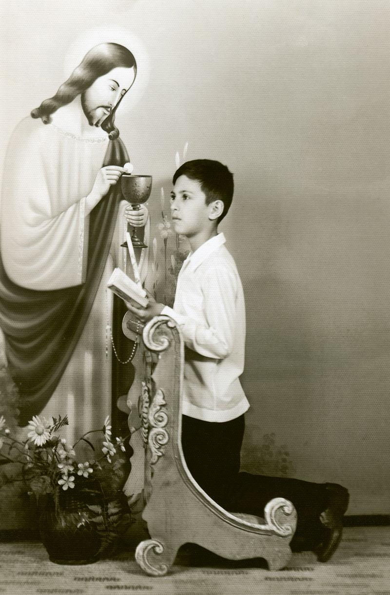 Em sua primeira comunhão, Bortolotto se diz católico até hoje