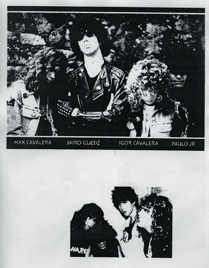 Jairo Guedez (no centro em ambas as fotos) no tempo das perucas gordas com os ex-companheiros do Sepultura