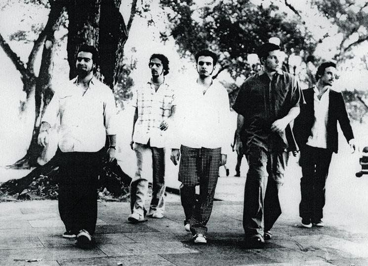 Laplan (o segundo da dir. para a esq.) e os companheiros de Los Hermanos no início da carreira