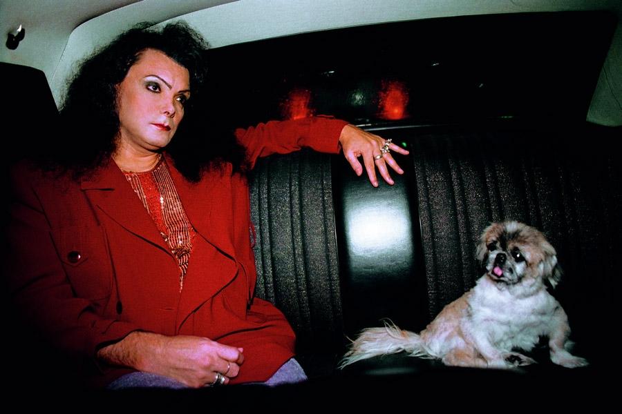 Andréia de Maio, em um raro dia montada, ao lado do inseparável pequinês Al Capone