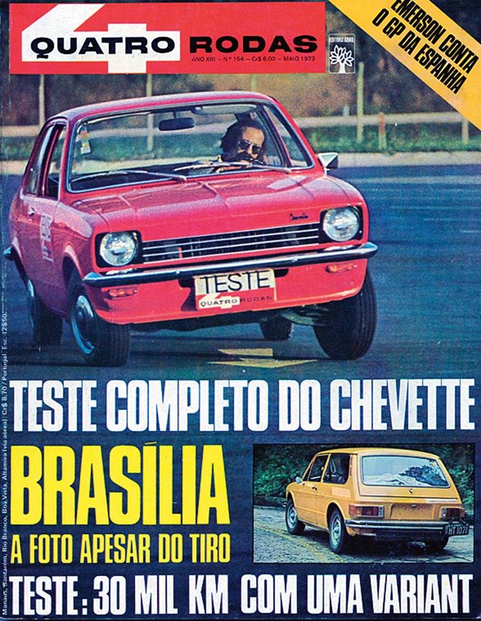 a capa do verdadeiro furo de reportagem da Quatro Rodas: a Brasília amarela e a bala na placa.