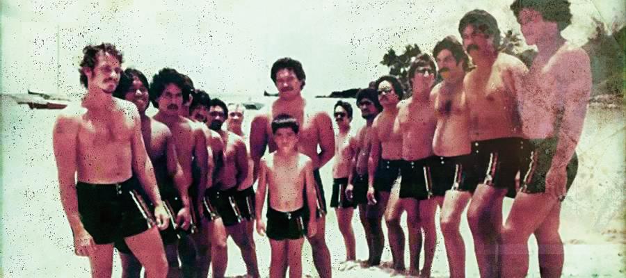 Integrantes do Da Hui nos anos 80; Fast Eddie é o primeiro à esquerda