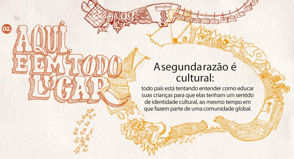 A segunda razão é cultural: todo país está tentando entender como educar suas crianças para que elas tenham um sentido de identidade cultural, ao mesmo tempo em que fazem parte de uma comunidade global