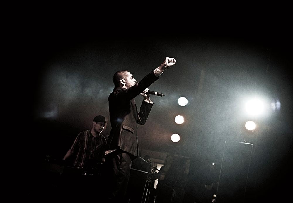 O MC em ação, no show de lançamento do disco no Sesc Vila Mariana em São Paulo