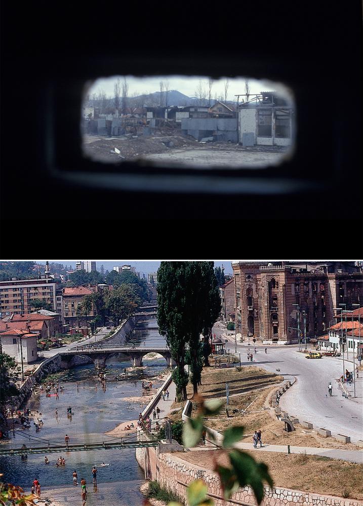 A cidade vista por um carro blindado da ONU e o rio Miljacka, em 1993