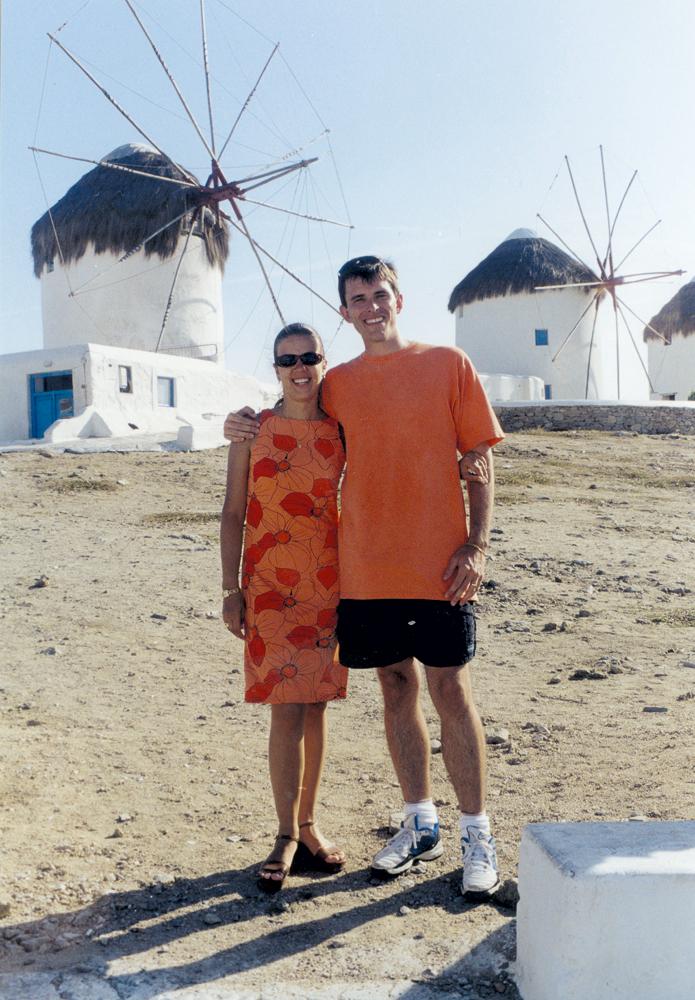 Com a esposa, Adriana, durante a lua de mel na Grécia