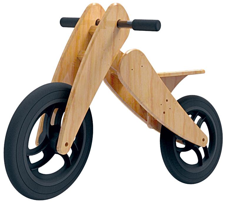 BICICLETA SEM PEDAIS - Produzida com madeira reflorestada e PET reciclado, R$ 349 (http://tinyurl.com/6t3vfn7)