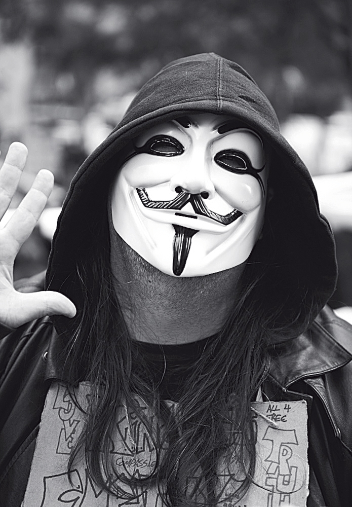Máscara de plástico de Guy Fawkes no Occupy Wall Street