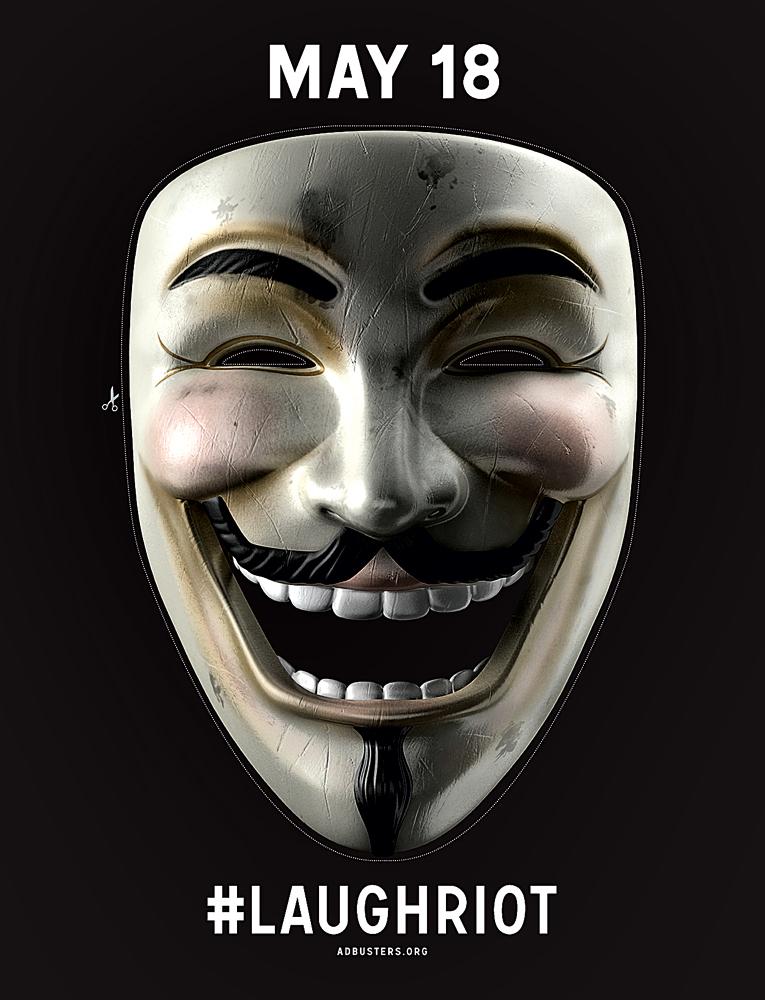 Convocação risonha da Adbusters para a próxima manifestação do movimento, 18 de maio de 2012