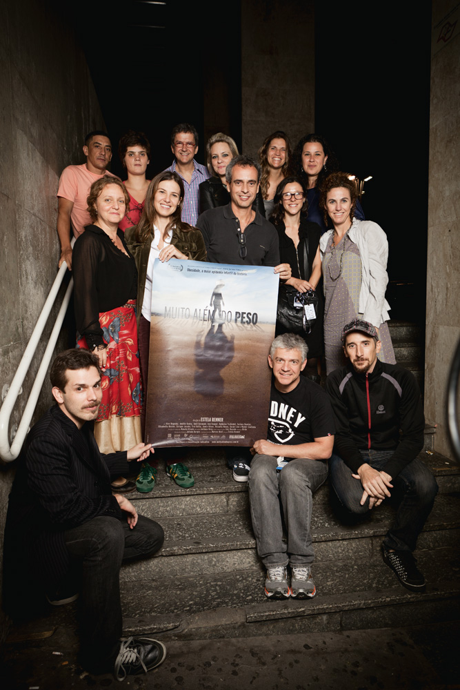A equipe do documentário, durante sua primeira exibição na Mostra Internacional de Cinema: entre os 24 finalistas