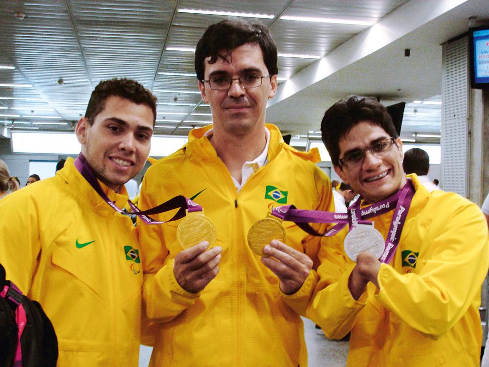 Yohanson Ferreira, Ciro Winkler e Alan Fonteles do time paraolímpico do Brasil nas Paraolimpíadas de Londres