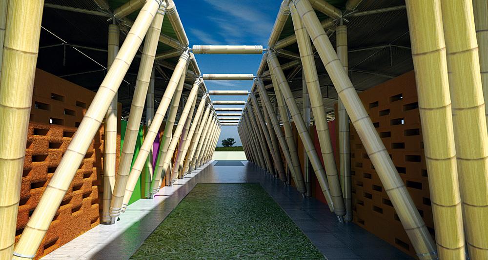 O corredor central de uma das escolas de bambu da LIbéria