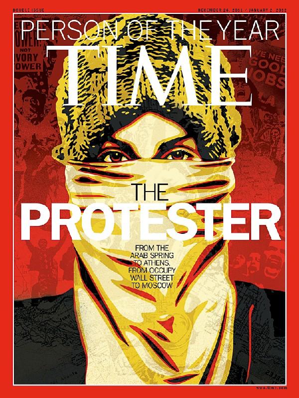 O ativista, homem do ano de 2011 de acordo com a Time