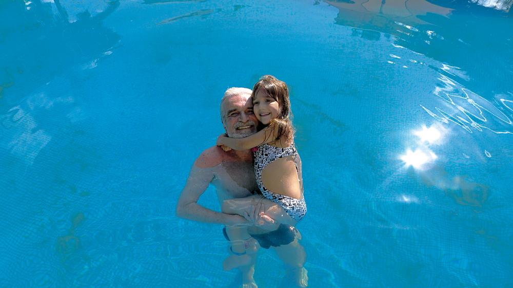 Com a filha Catarina