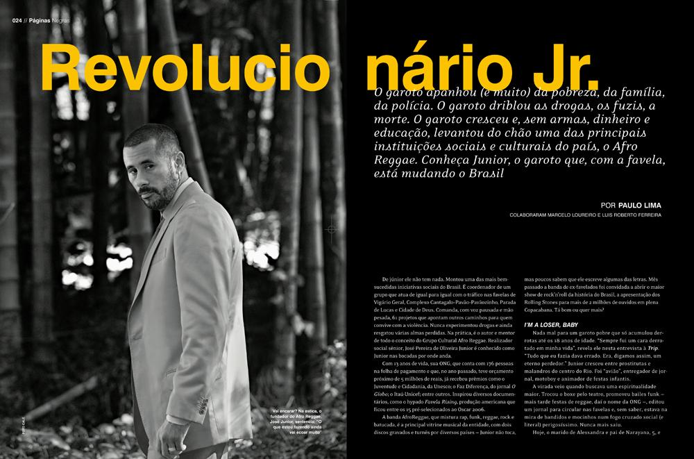 Imagem das primeiras Páginas Negras da Trip com Junior, em março de 2006