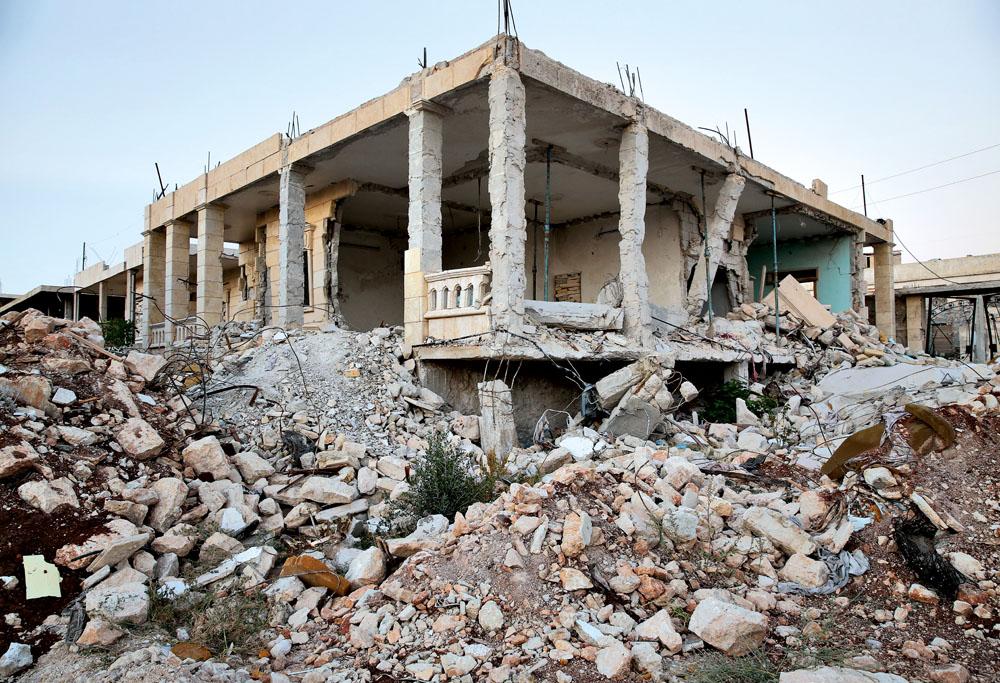Casa destruída no centro de Aleppo