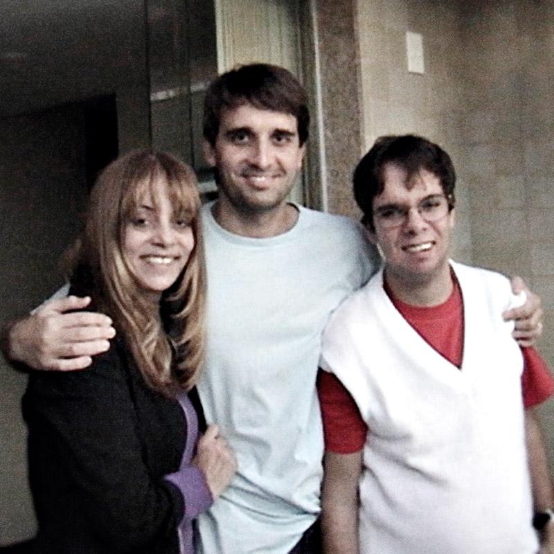 Com os filhos Rodrigo e Rafinha