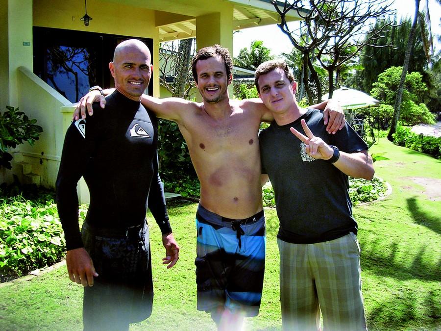 Com Vavá e Luciano Huck, no começo de 2010, no Havaí