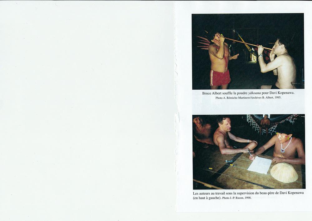 Páginas do livro La Chute du Ciel, a biografia de Kopenawa publicada na França