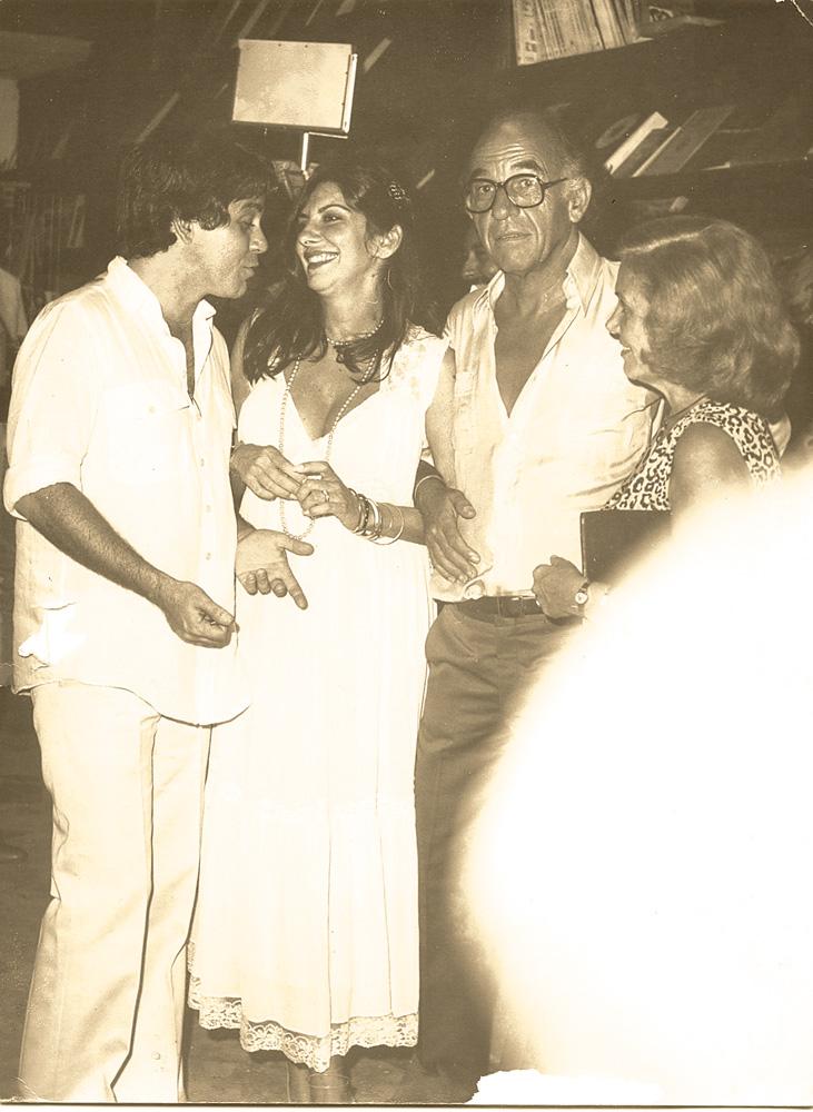 Nelson em 1978, com os pais Nelson e Xixa e e a atriz Marília Pêra, então sua esposa