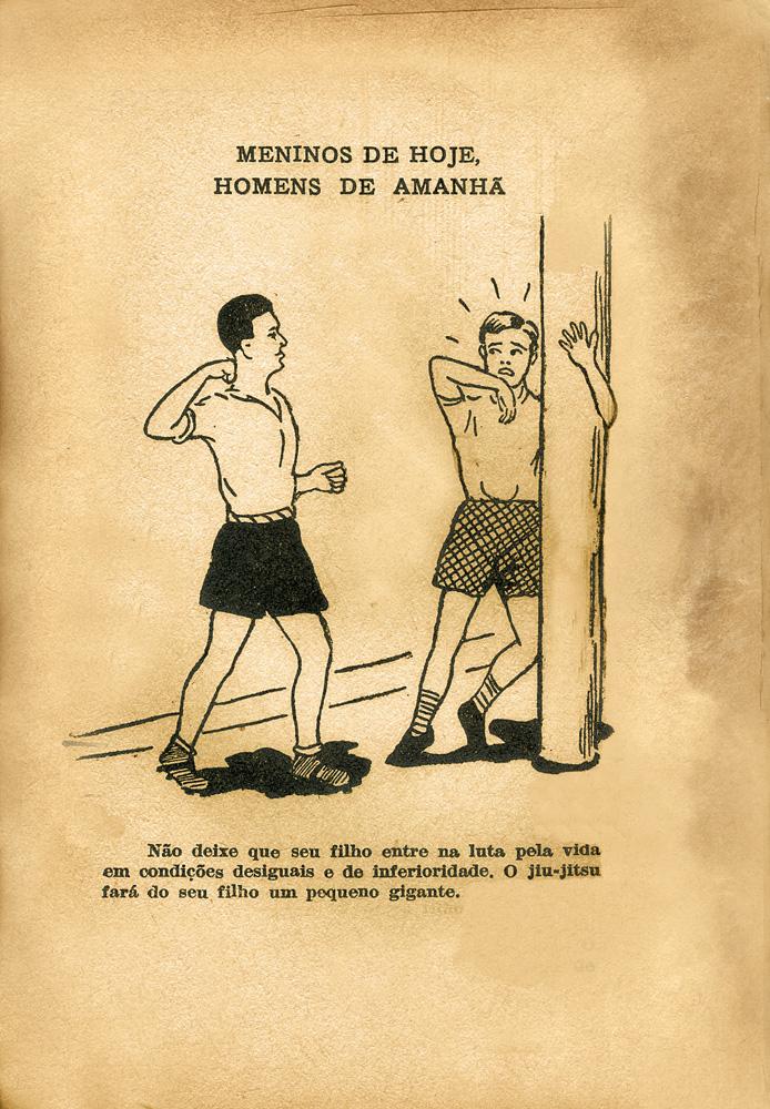 imagens do raro livreto Introdução ao jiu-jítsu, de 1948: 'Não deixe seu filho ser humilhado'